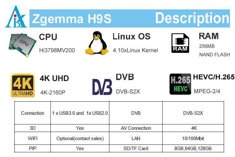 Cccam/Oscam Supported 4K UHD TV Box Zgemma H9s Linux OS Enigma2 DVB-S2X One  Tuner