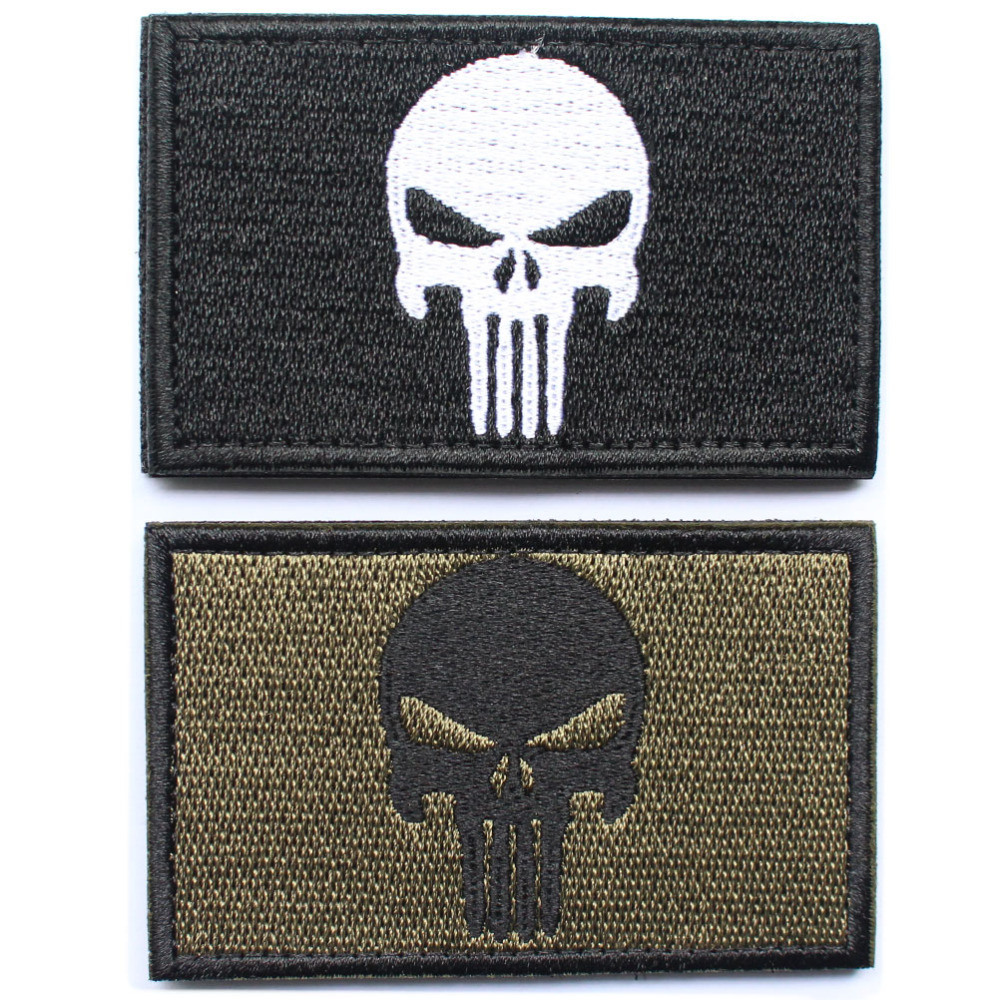 [Hot Item] Punisher Skull American USA Thin Blue Line Law Enforcement Flag  Devgru Seal Team Si Vis Pacem PARA Bellum Embroidered Patch
