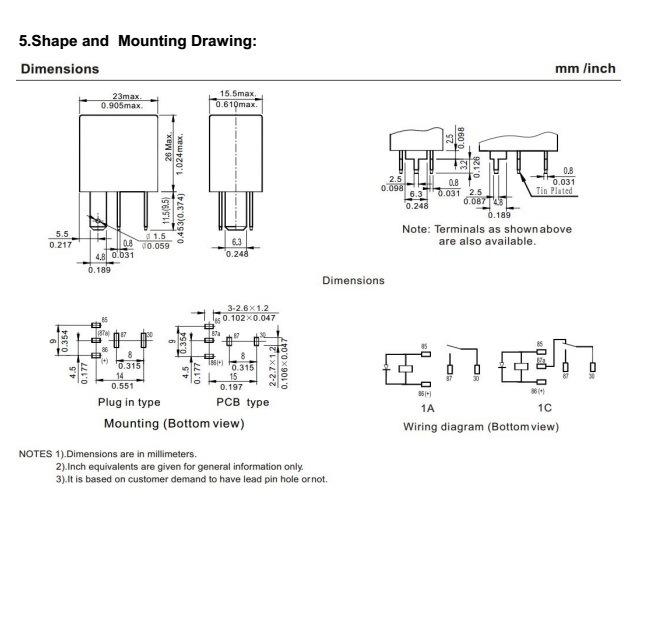 Miniatuur Autorelaisbox Pcb En Plug In Montagemethoden 25a 14vdc