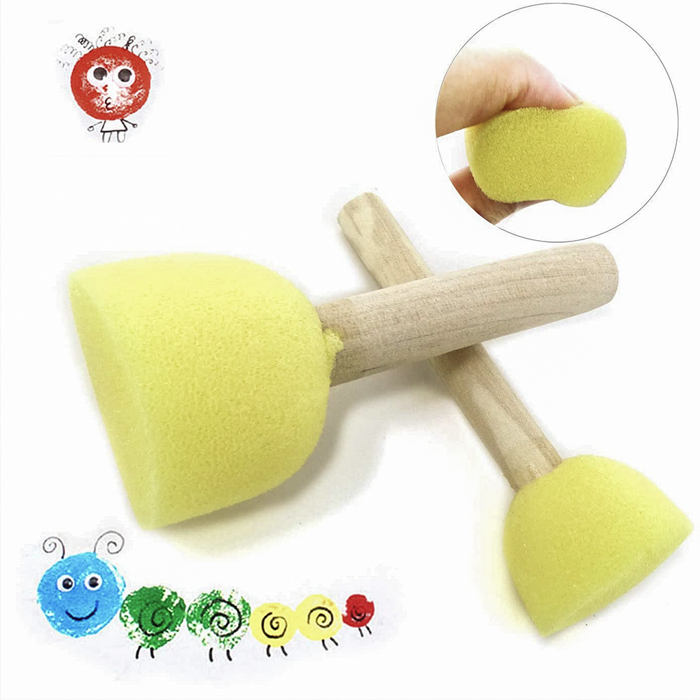 21347 3 Pieces Wooden Handle Round Foam Sponge Brush Paint Tools of All Sizes