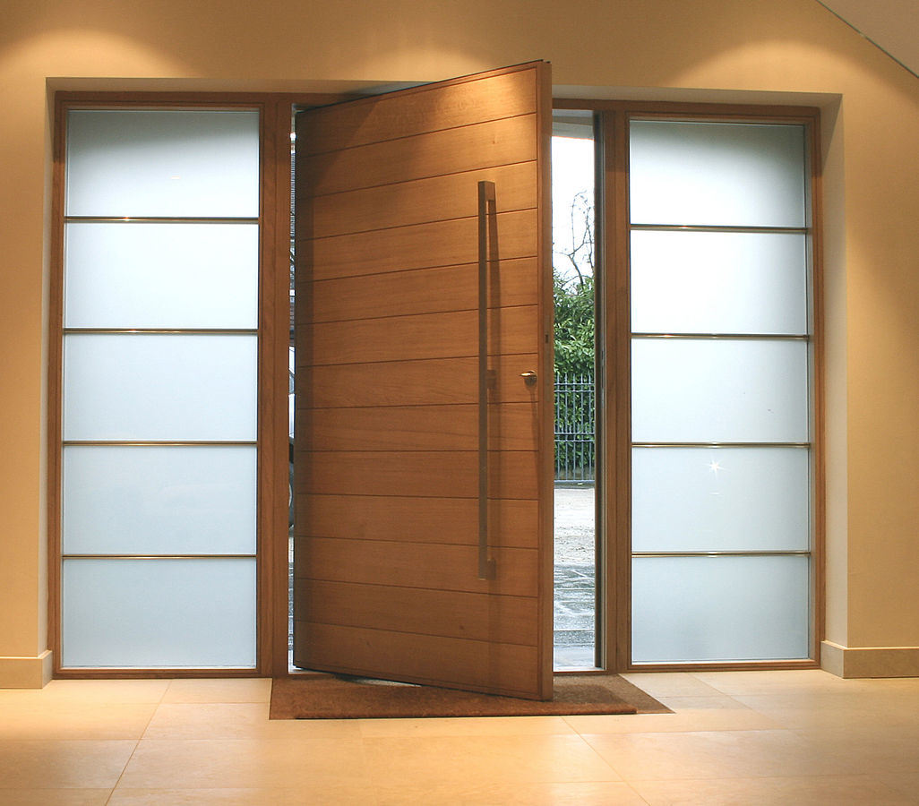 American Modern Villa Exterior Front Entrance Doors With Glass