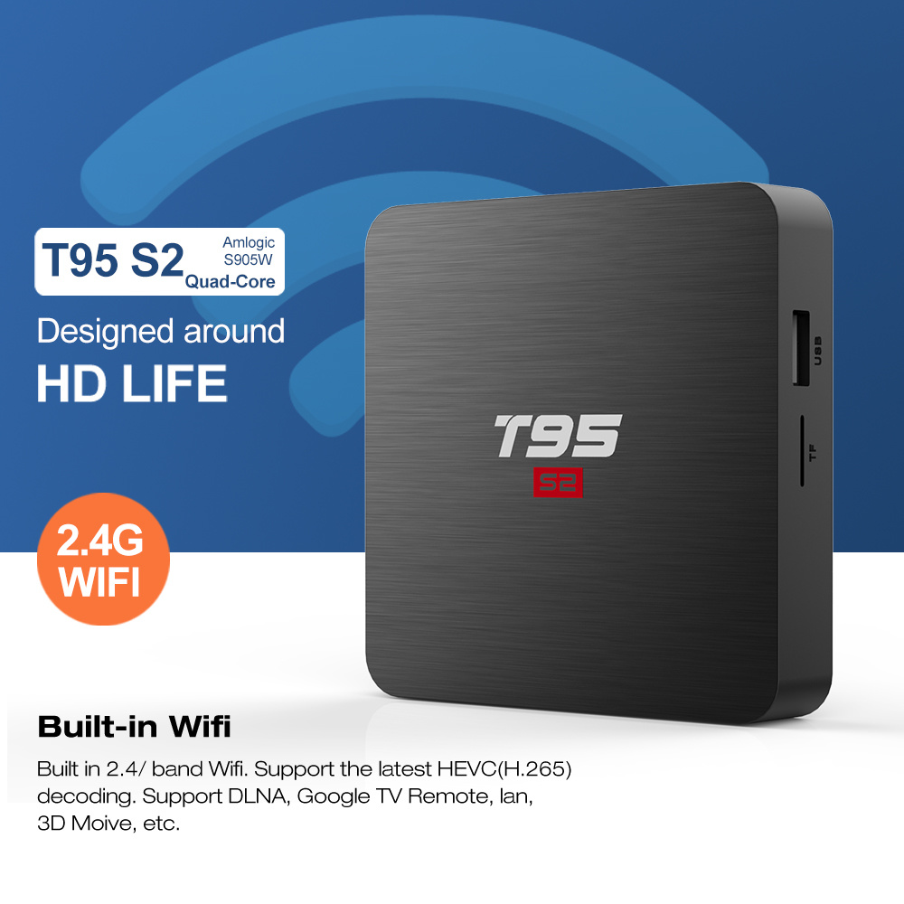 Cheapest Android TV Box Amlogic S905W Android 7.1 2g/16g T95 S2 Factory  Privite Mode Streaming Set Top Box - China T95 S2 Android TV Box, Android  7.1 Set Top Box