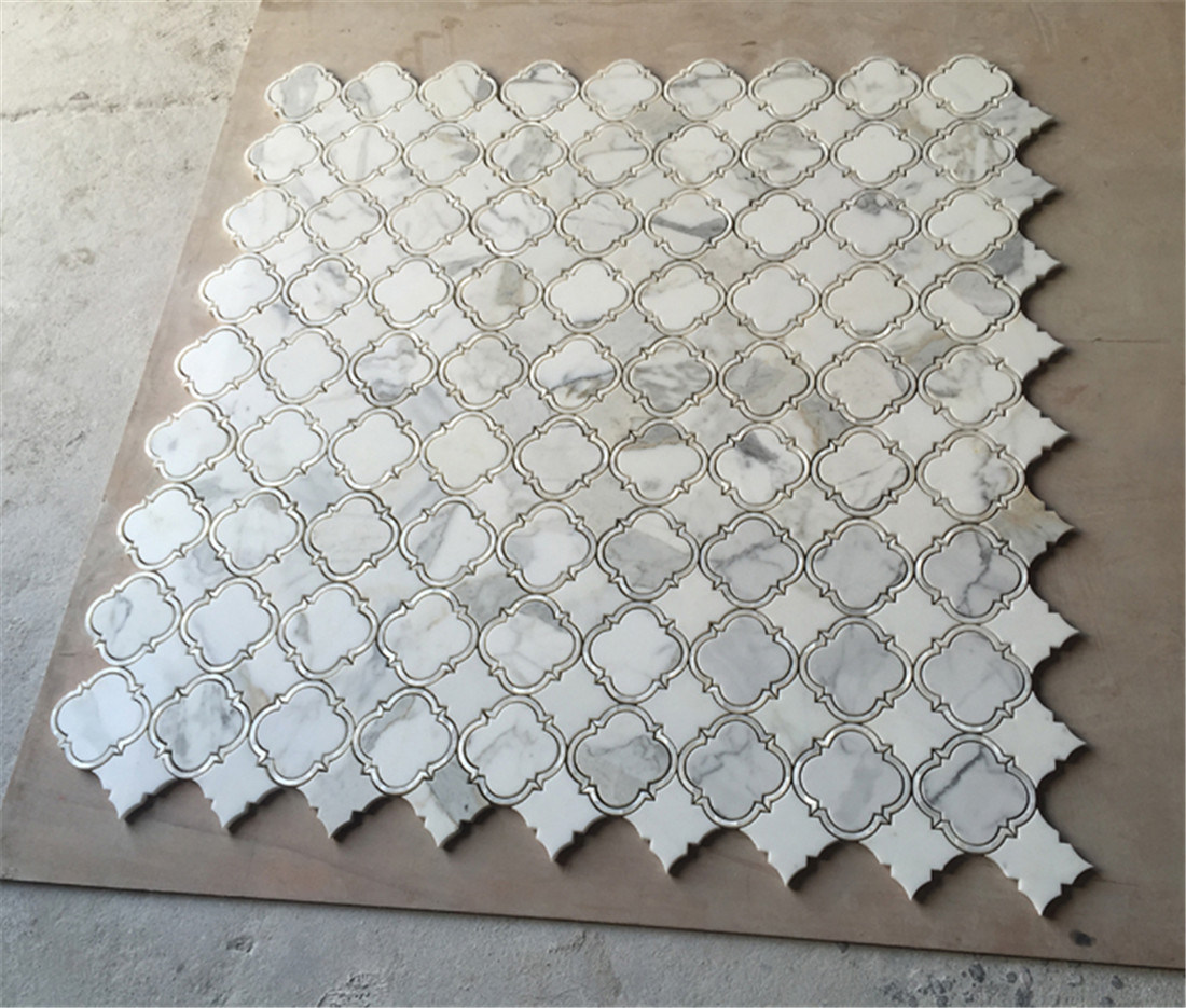 Welcome Sample And Trial Order For Calacatta Gold White Marble Mixed Shell Waterjet Mosaic Tile Bathroom Wall Decorative