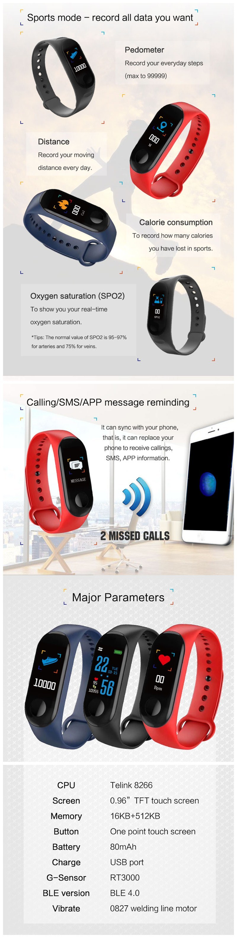 [Hot Item] Newest Color Screen Fitness Activity Tracker Band M3 Smart  Bracelet with Heart Rate Monitor