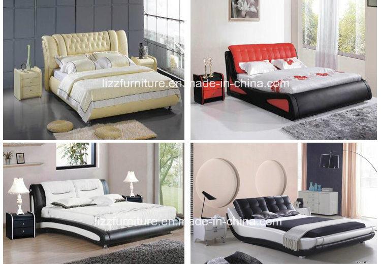 Muebles de Dormitorio modulares de piel suave cama con armazón de ...
