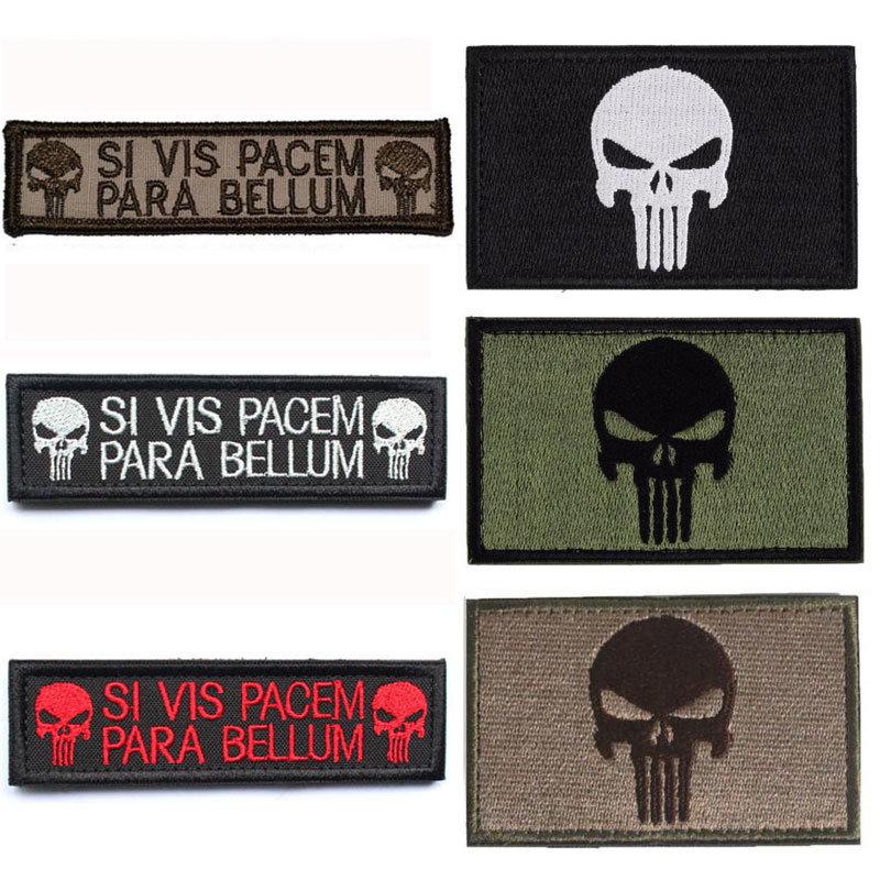 [Hot Item] Punisher Skull American USA Thin Blue Line Law Enforcement Flag  Devgru Seal Team Si Vis Pacem PARA Bellum Embroidered Patch