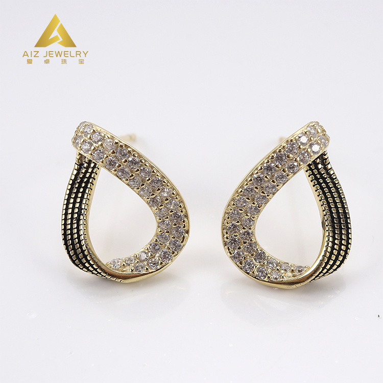 Custom Jewellery Manufacturer New Model Yellow Gold Plated Jewelry Silver  Stud Earring with Cubic Zircon - China Fashion Jewellery and Fashion Jewelry  price | Made-in-China.com