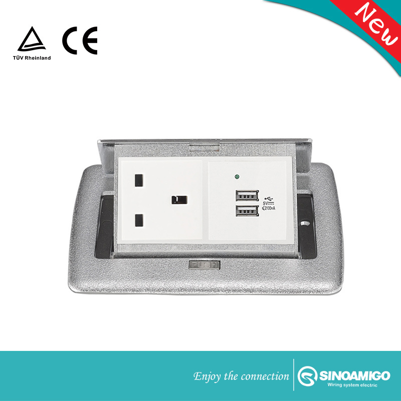Sinoamigo Zinc Alloy Cover Soft Pop up Power Receptacle