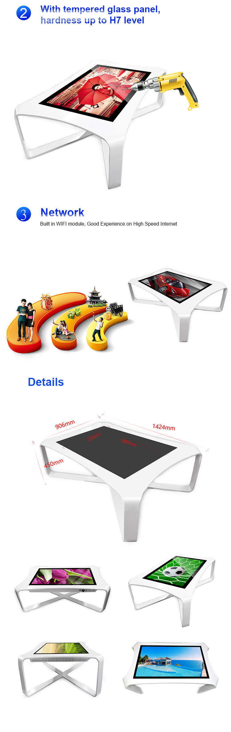 for Coffee or Restaurant Customize Interactive Touch Screen Table Multitouch Table Waterproof