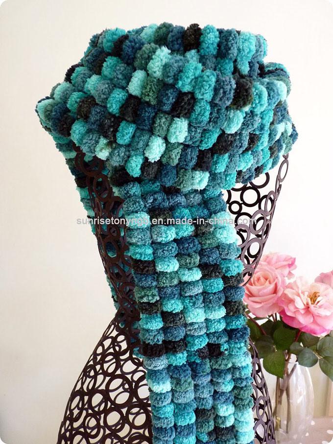 Los patrones de la novedad de invierno lana acrílica pom-pom Bufanda ...