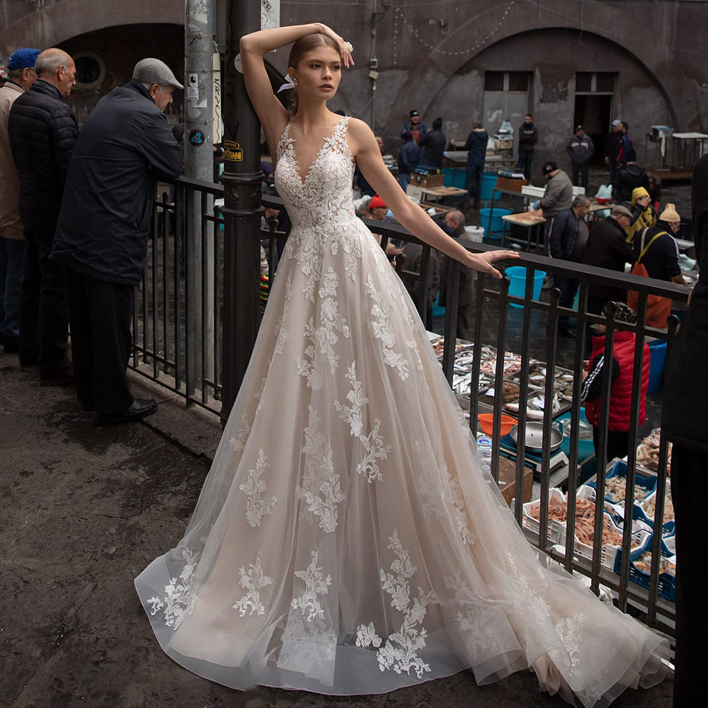 Lace Wedding Dresses A Line Sleeveless Tulle Beach Boho Bridal ...