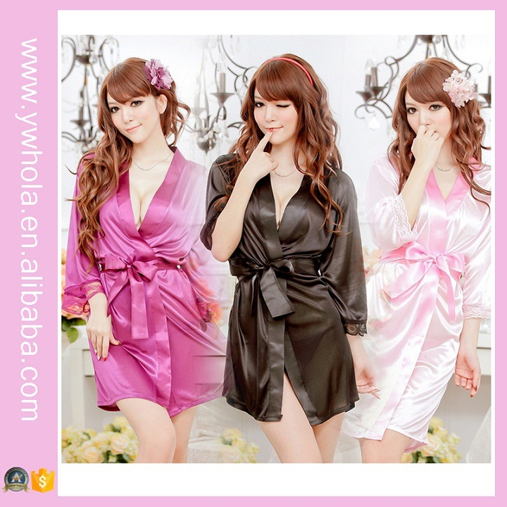 Fashion Women Sexy Lingerie Satin Robe Lace Pink Intimate ...