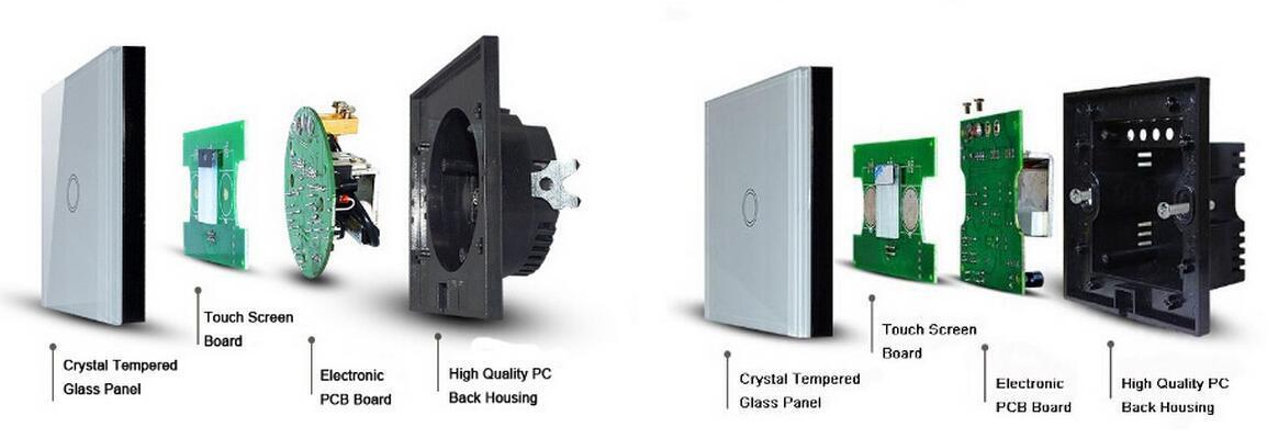 EU/UK 2gang Touch Sensitive LED Dimmer Switch for LED Lights