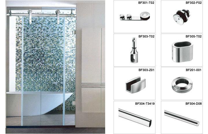 Stainless Steel Frameless Shower Door Hardware For Decoration