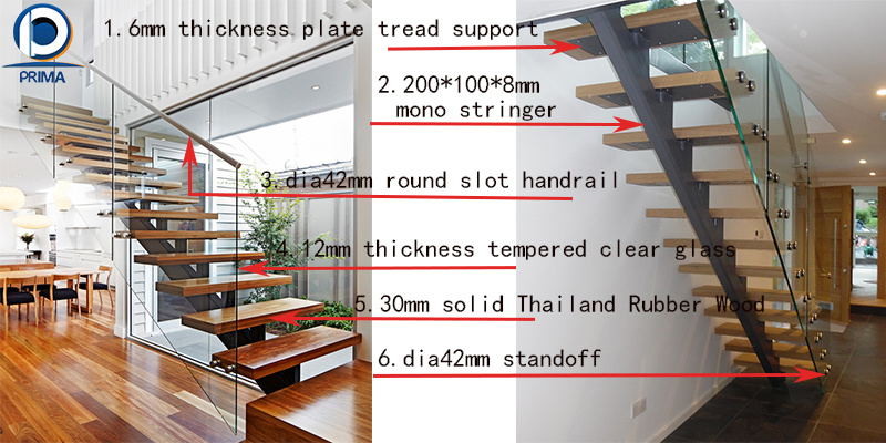 Modern Staircase Design Steel Wood Staircase China Oak Wood