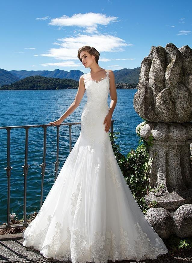 Sleeveless Bridal Gown Laces Mermaid Tulle Beach Wedding Dress H1890 ...