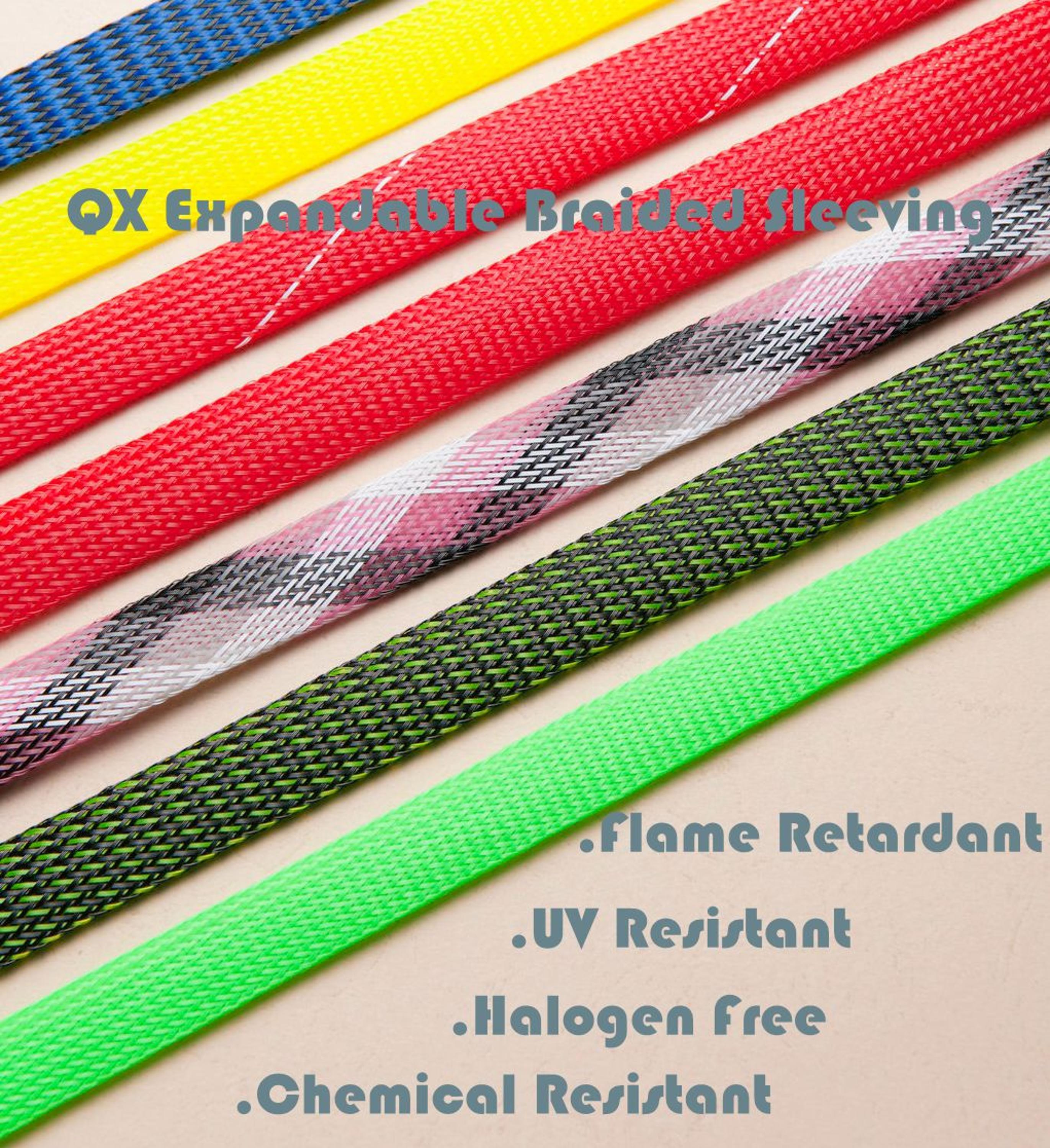 Non Flammable Flexo Pet Expandable Braided Cable Sleeving Wear Wire Harness Resistant