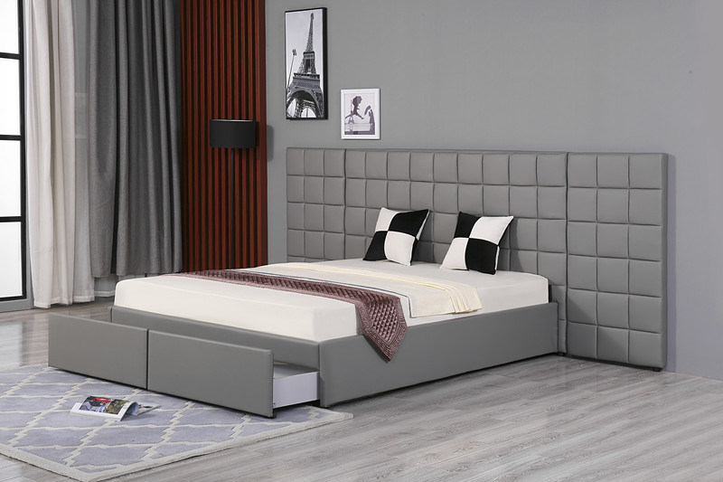 Modern Luxury Bedroom Furniture Upholstered Pu Bed With Extended Headboard White Pu Bed China Bed Drawer Bed Made In China Com