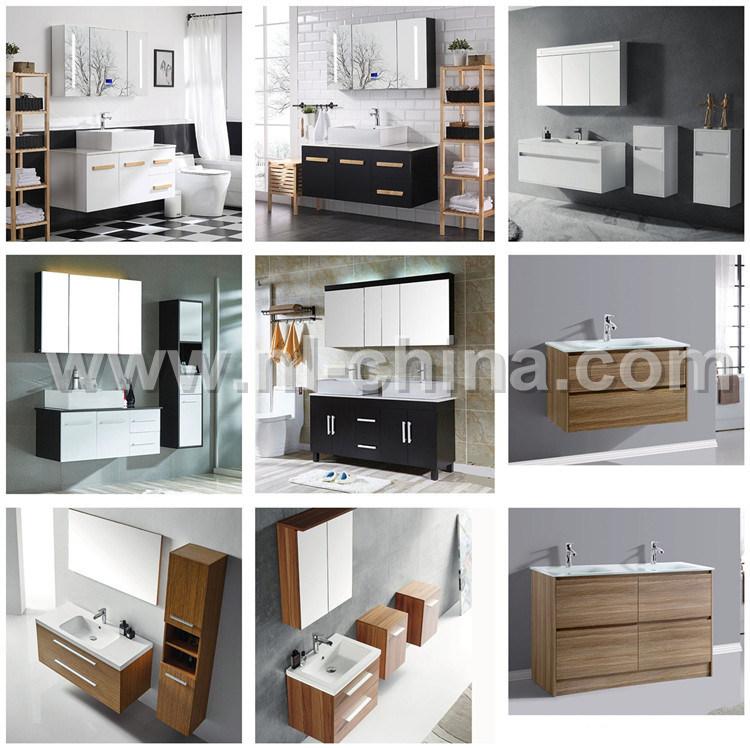N&L negro brillante moderno gabinete de vanidades de baño de PVC ...