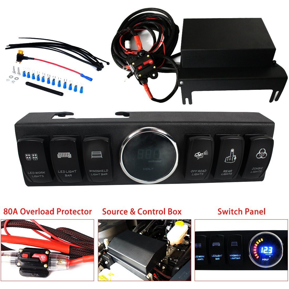 2009 2016 jeep wrangler jk jku control box 6 switch pod electronic more than 6ft of wiring 6 size 12 1 8 1 3 9 7 two sets of power connectors to light fixtures 8 weight 3 2lbs 9 package retail box