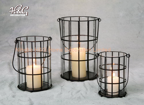 Round Hurricane Candle Holder With, Decorative Glass Hurricane Lamps