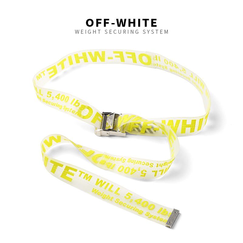 New Fashion Off White Belt Webbing Cotton Metal Buckle Belt High Quality 200 CM