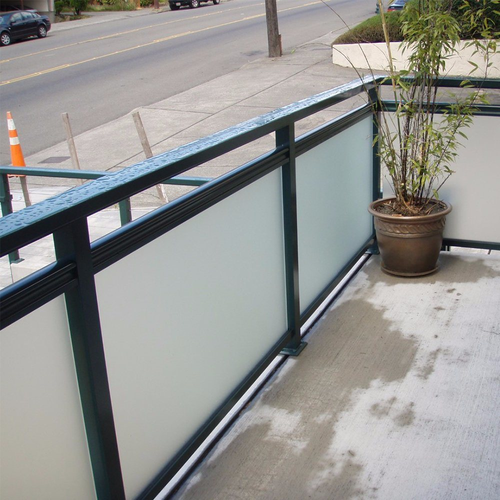 Modern Simple Design Balcony Glass Railing With Stainless Steel