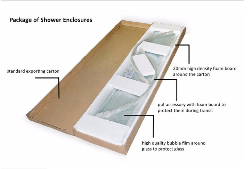 Australia Standard Frameless Tempered Glasss Shower Room with Asnzs2208 Approved