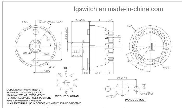 UL ENEC 12A 550VAC 5 Pin 4 Position Sp4t Rotary Switch Rt01 - China  Position Pin Rotary Switch Wiring Diagram on three-way rotary switch diagram, rotary 4 pole wiring diagram, 4 pole switch diagram, pos 6 cable diagram, 6 pole switch diagram,
