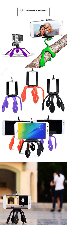 Montaje flexible portátil Gekko Trípode para cámara de acción Gopro ...