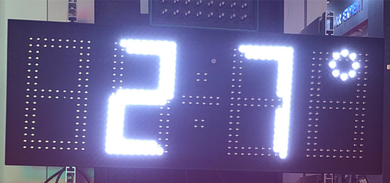 7 Inch 4 Digits White Outdoor LED Digital Clock with Temperature Date Display