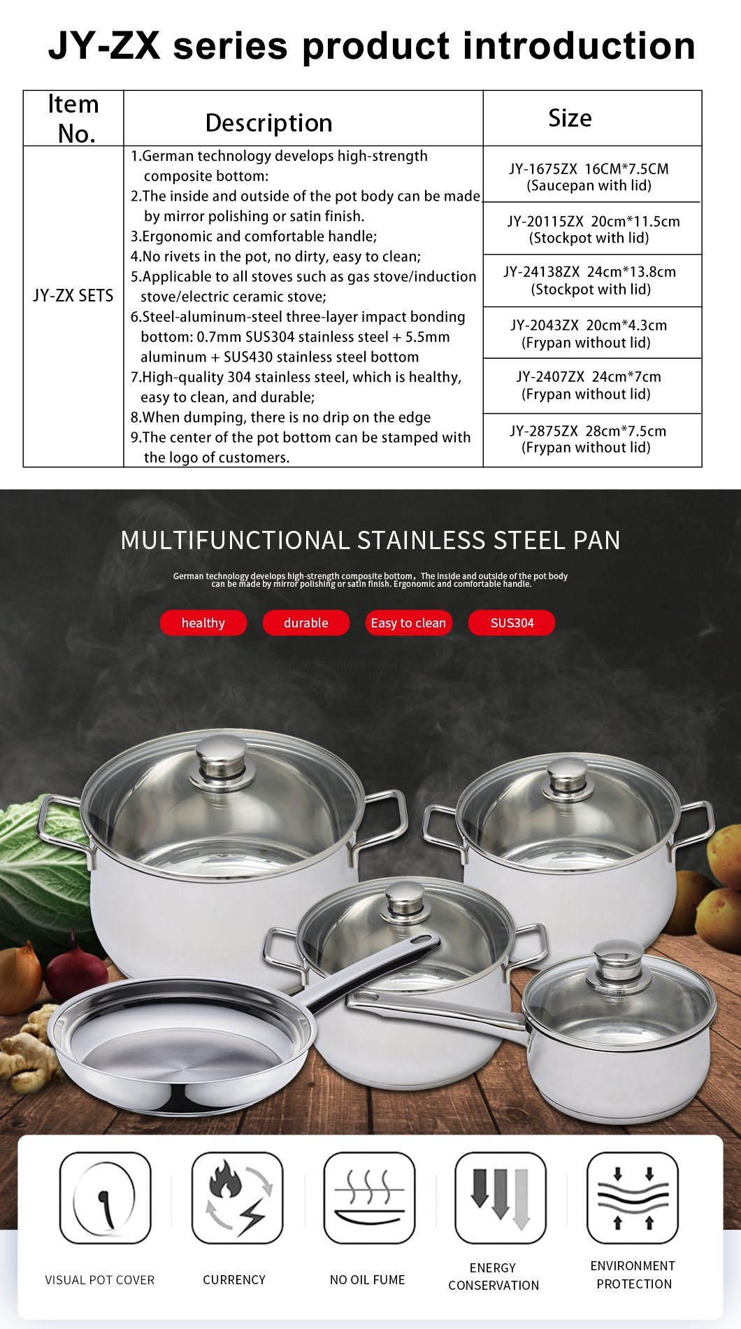 Restaurant Kitchen Durable Silvery Stainless Steel Frying Pan Wok Frypan Jy 2407zx China Pot And Soup Pot Price Made In China Com