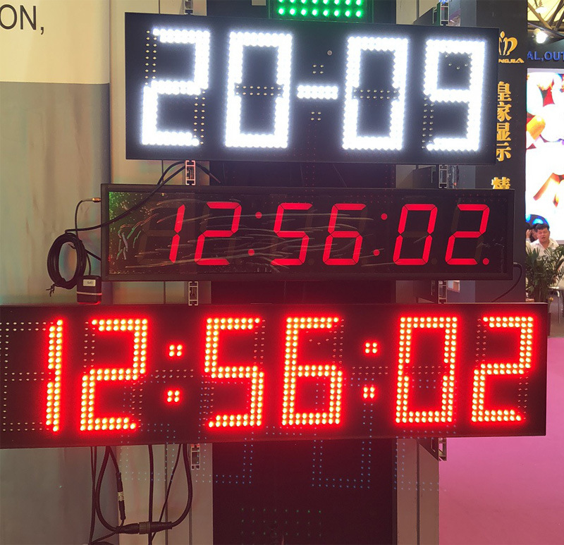 7 Inch 6 Digits Outdoor Red LED Digital Clock with Date Temperature Display