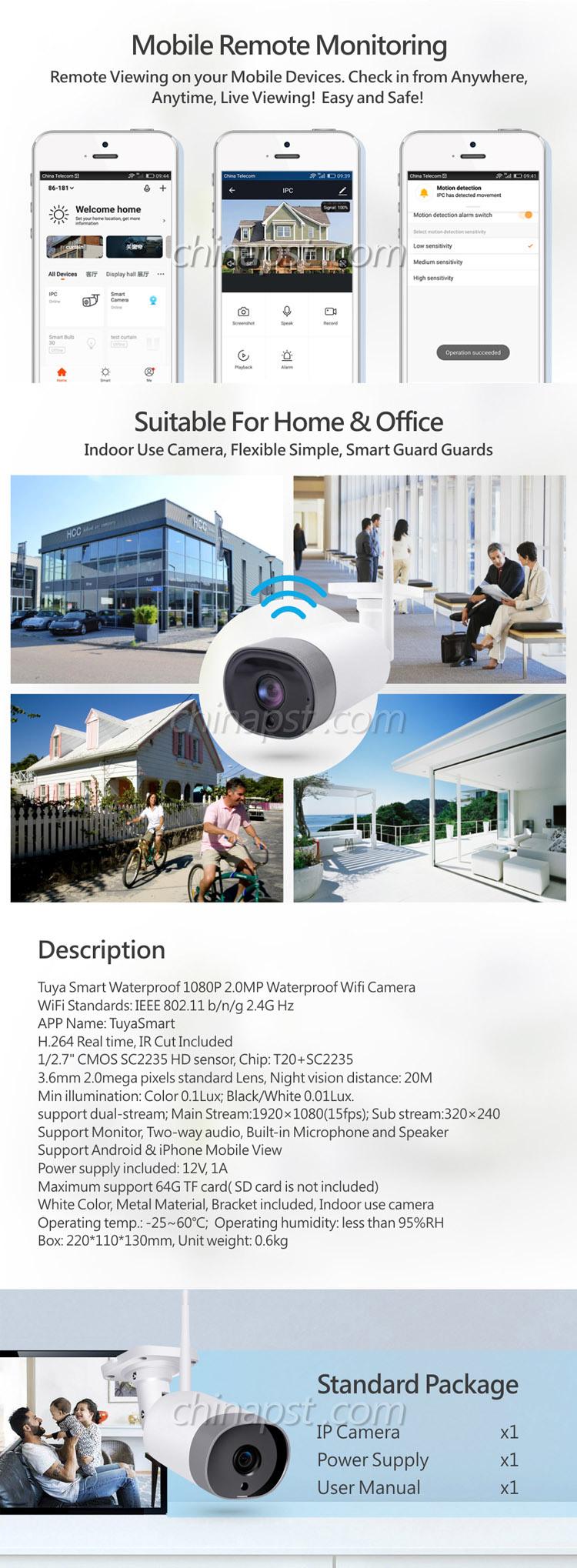 Wholesale Price Waterproof 1080P 2.0MP Tuya Smart WiFi CCTV Camera (PST-QJ06)