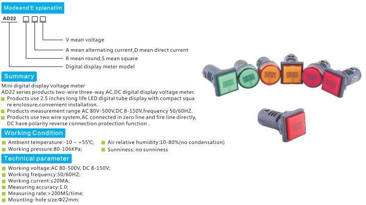 LED AC80V-500V Digital Display Indicator Light