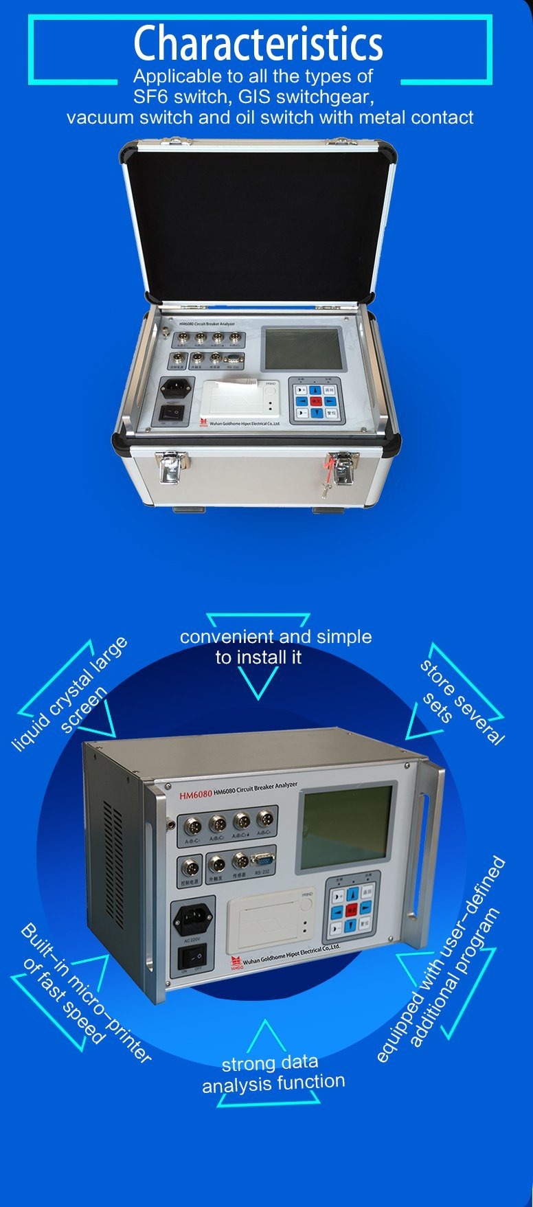 Timing Test Switch Tester Circuit Breaker Analyzer China Simple Crystal Is Supplied In The Device And Of Low Pressure Operating Completed Automatically To Measure Voltage