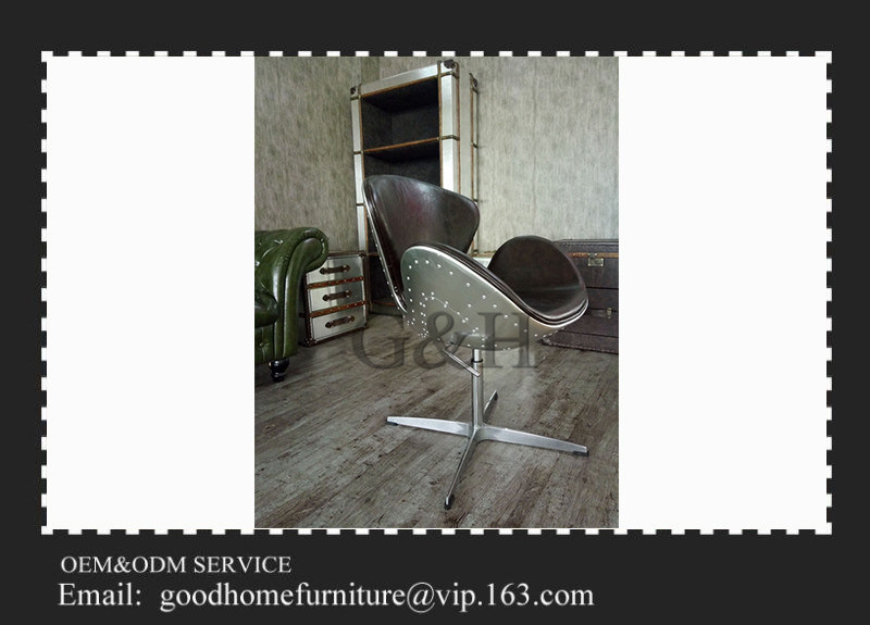 Office Furniture Vintage Spitfire Aviator Brown Leather Swan Chair