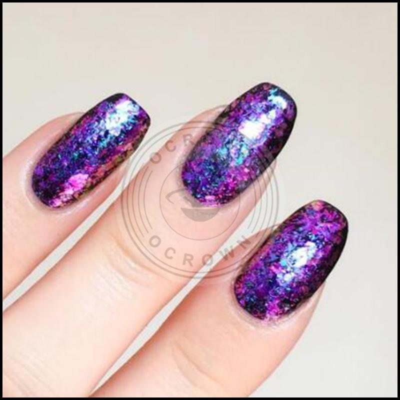 Galaxy Acrylic Foil Nails Decoration Sequins Chameleon Flake ...