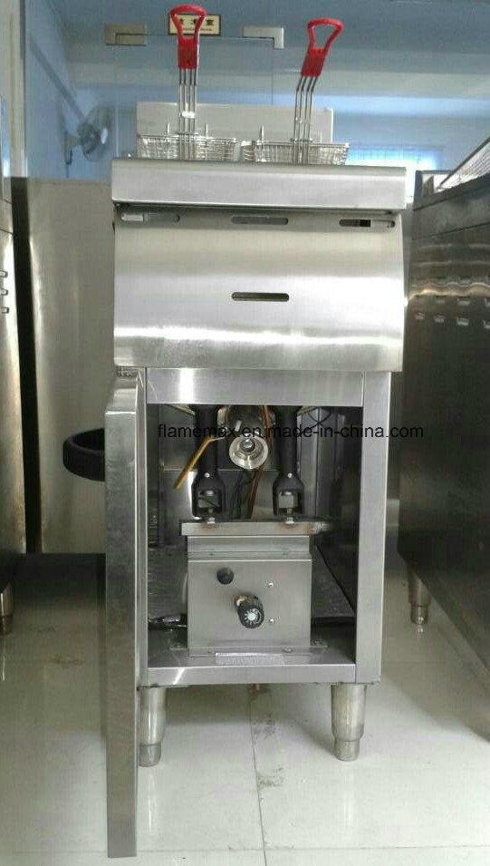 1 Tank 2 Basket Stainless Steel Gas Fryer (HGF-778)