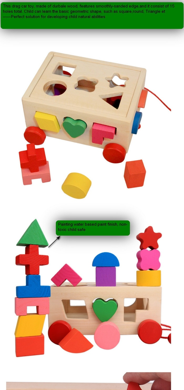 Montessori Wooden 3d Geometry Drag Car Box Kids Education Blocks Toy China Drag Car Toy And Car Toy Price Made In China Com