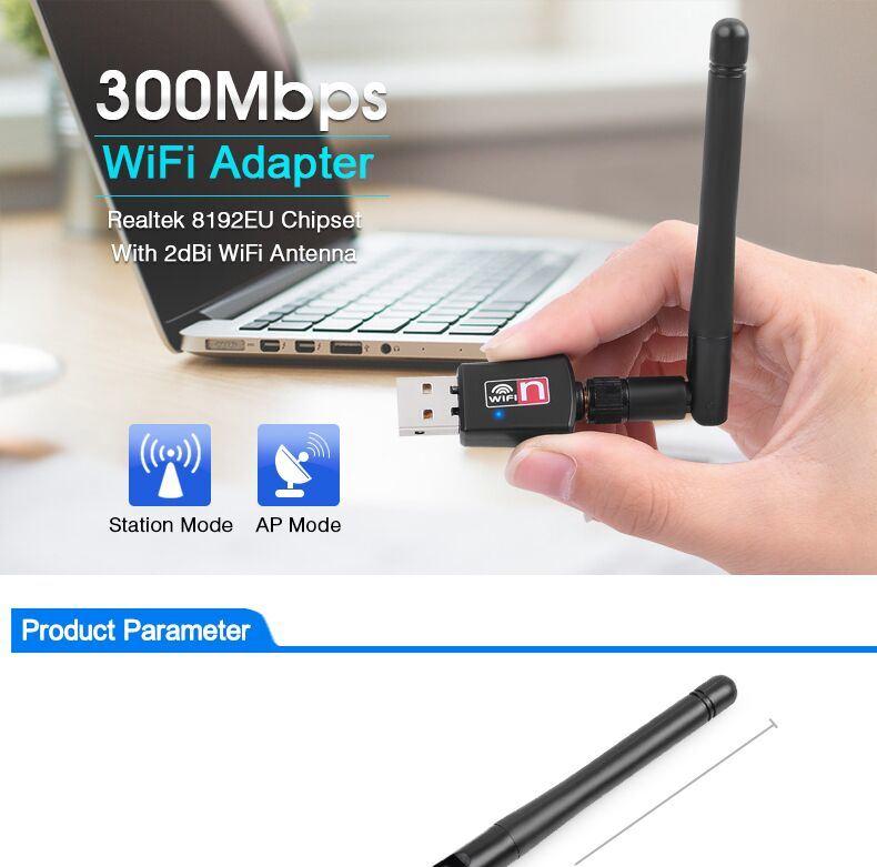 Nano 300Mbps WiFi Adapter Realtek Rtl8192EU External 2dBi WLAN Antenna