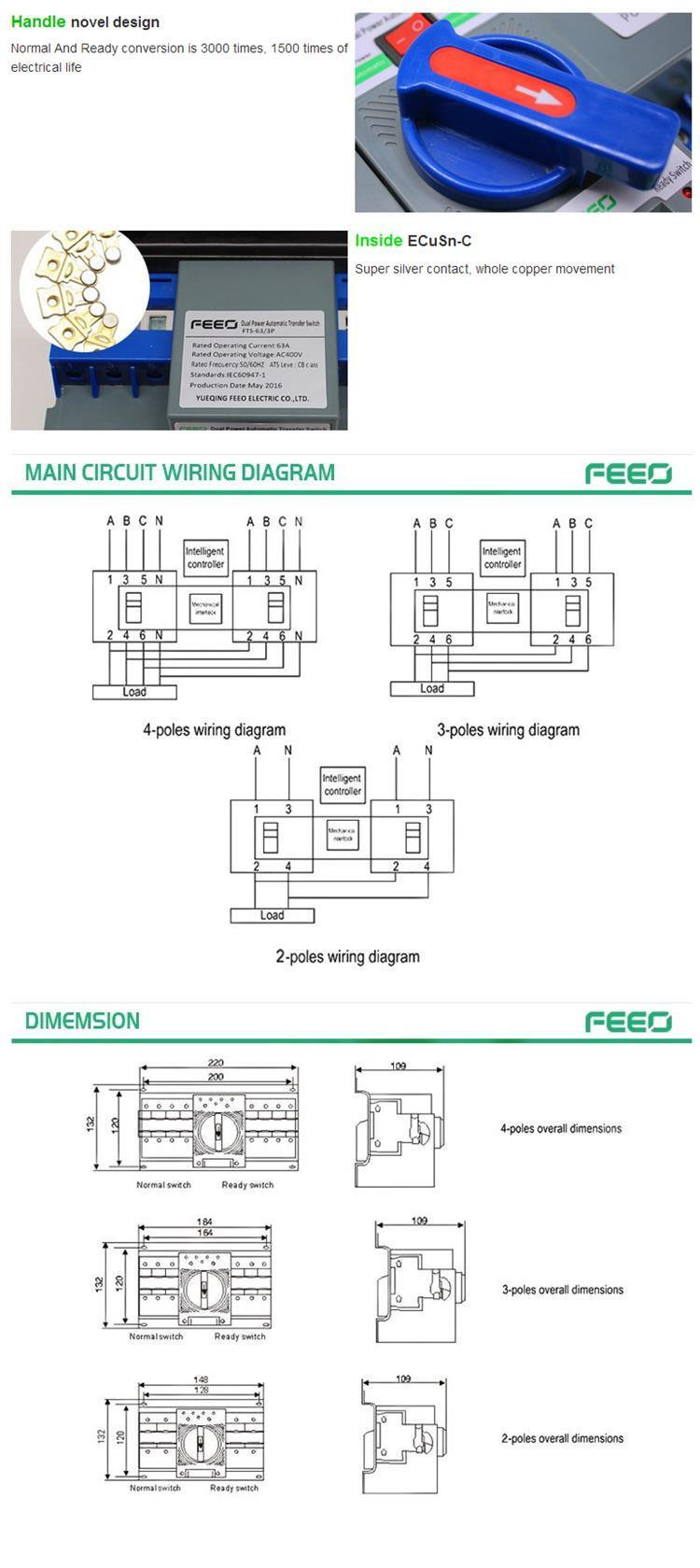 230 400v 63a 2p 3p 4p Dual Power Automatic Transfer Switch China 200 Wiring Diagram Pictures Show Detailed Images