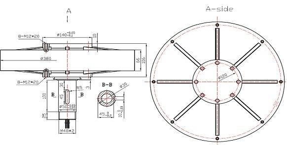 1kw 180rpm disco de aerogenerador de eje vertical coreless