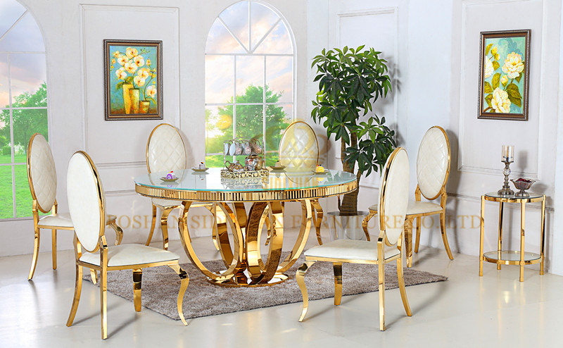 Gold Foshan Marble Round Dining Table, Gold Dining Room Set