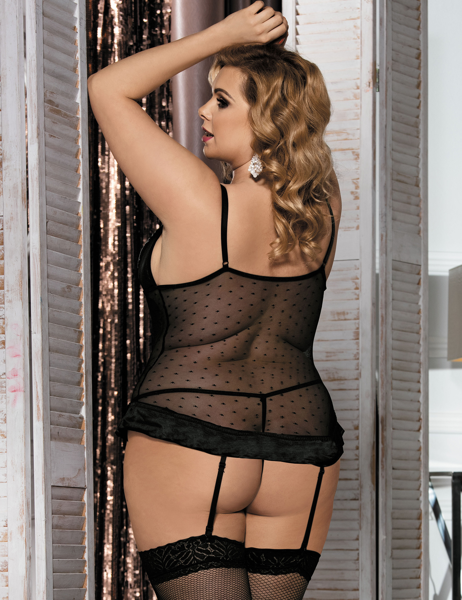 6aa9025256c Black Plus Size Lingerie Floral See-Through Babydoll - China Fat ...