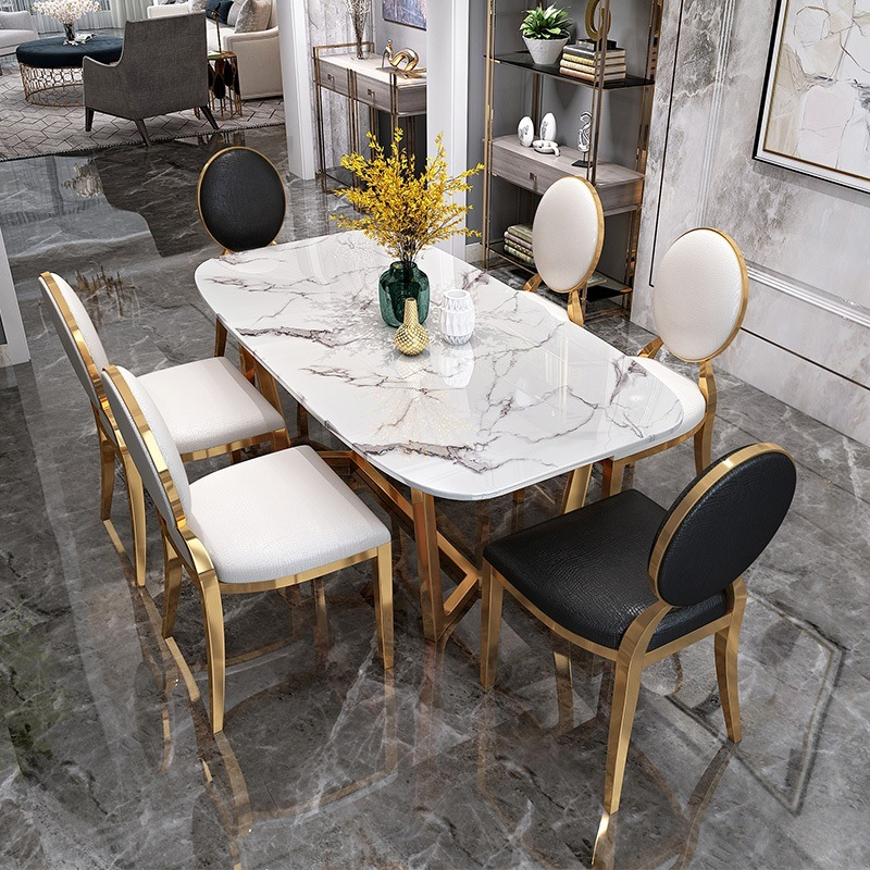 Rectangle Gold Designs White Marble, High Quality Dining Room Chairs