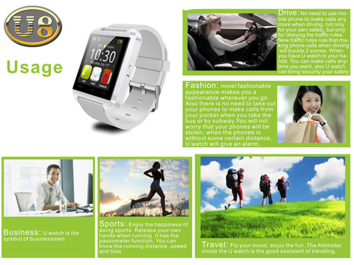 Smart Watch Multi-Functions Touch Screen Smart Bluetooth Watch U8