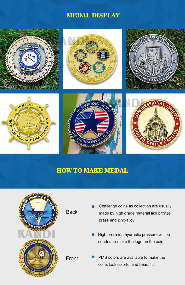 Custom Die Casting Enamel Antique Metal Coin Soft Navy Hard Enamel Silver Air Force USA Usn Coin Souvenir Challenge Coin