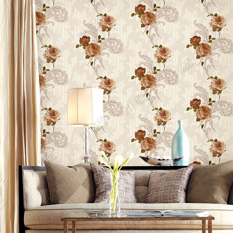 New Design Flower Wall Paper Price Pvc Wallpaper For Interior Decoration