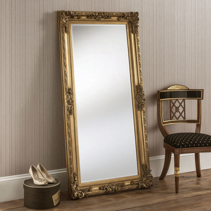 Extra Large Gold Wood Floor Big Mirror, Extra Large Wall Hung Mirror